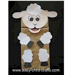 Paper bag lamb puppet craft puppets pinterest puppet for Cardboard sheep template