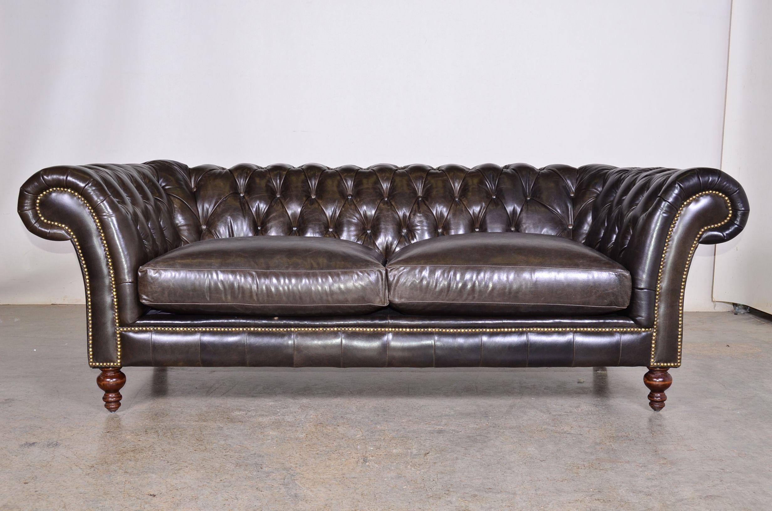 English Arm Tight Back Leather Sofa