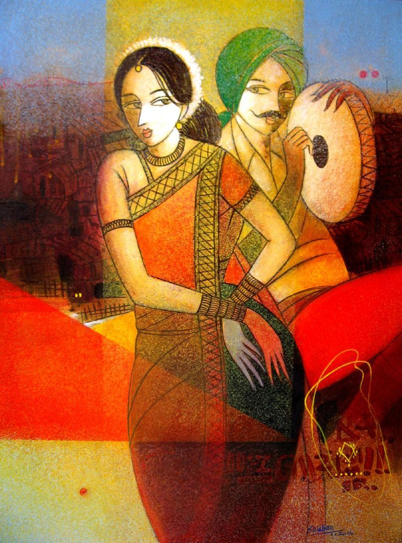 sakal paintings exhibition pune 2015 - Google Search   Acrylic ... for Abstract Painting Of Indian Dancers  156eri