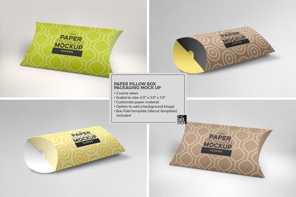 pillow box packaging mockup sponsored