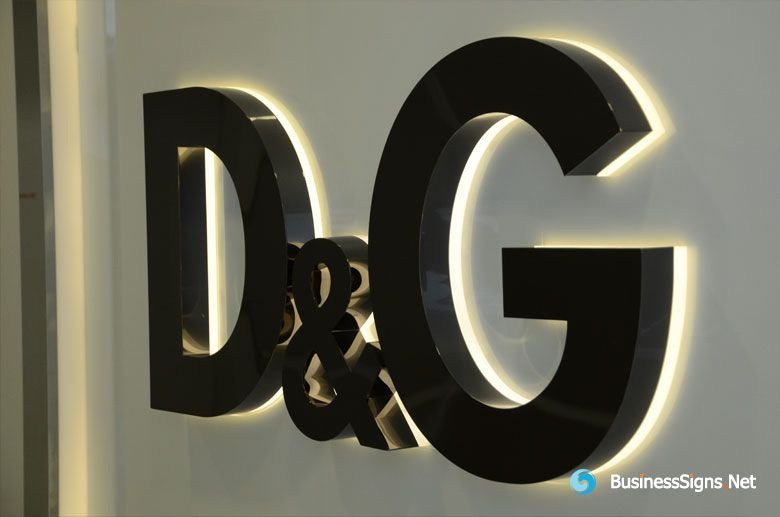 3d Led Back Lit Signs With Mirror Polished Titanium Plated