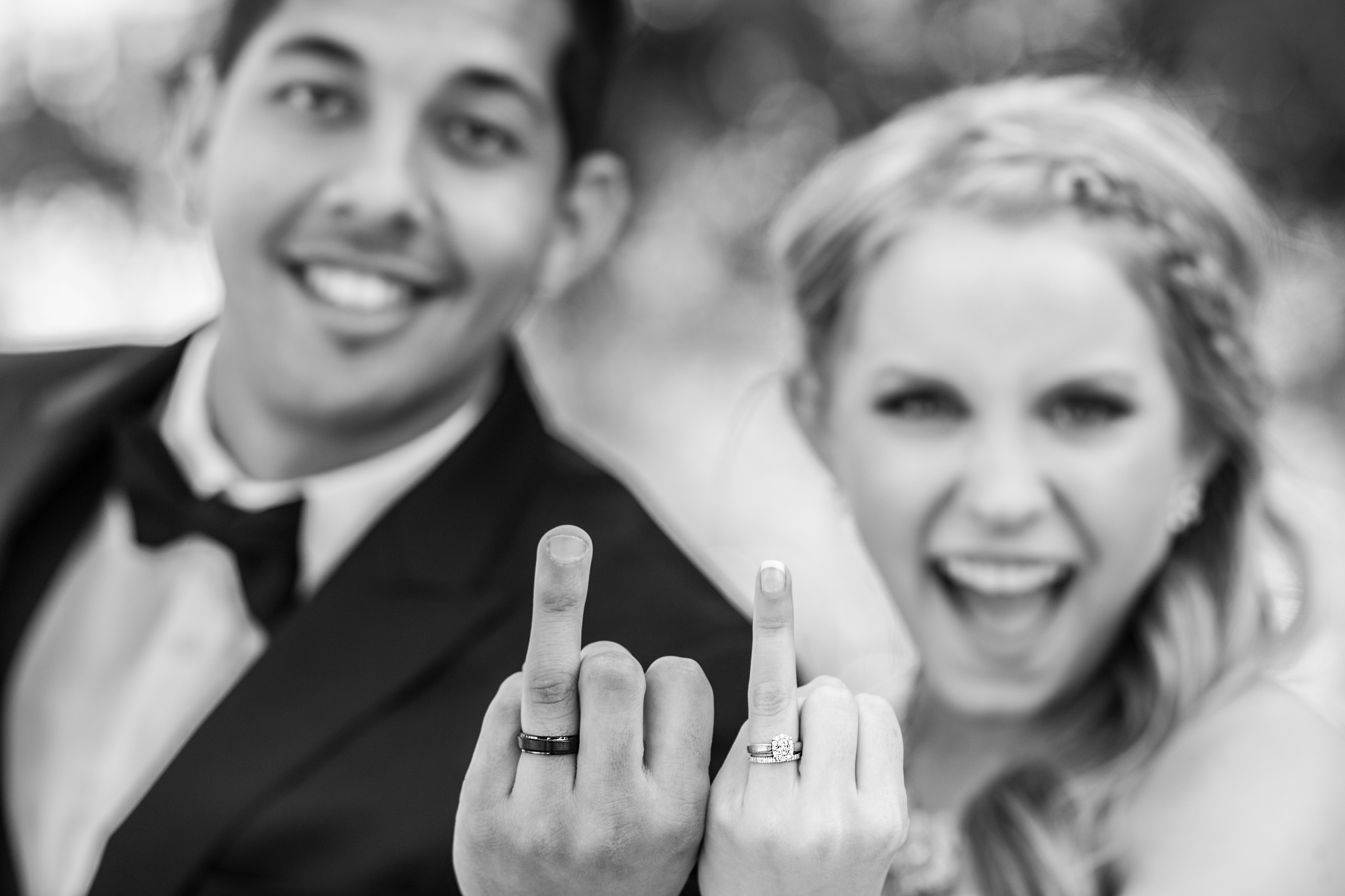 Bride And Groom Flipping Off Camera With Ring Fingers Myers Video Production Wedding Fine Art Photography Wedding Ringa Wedding Photos Wedding Photography