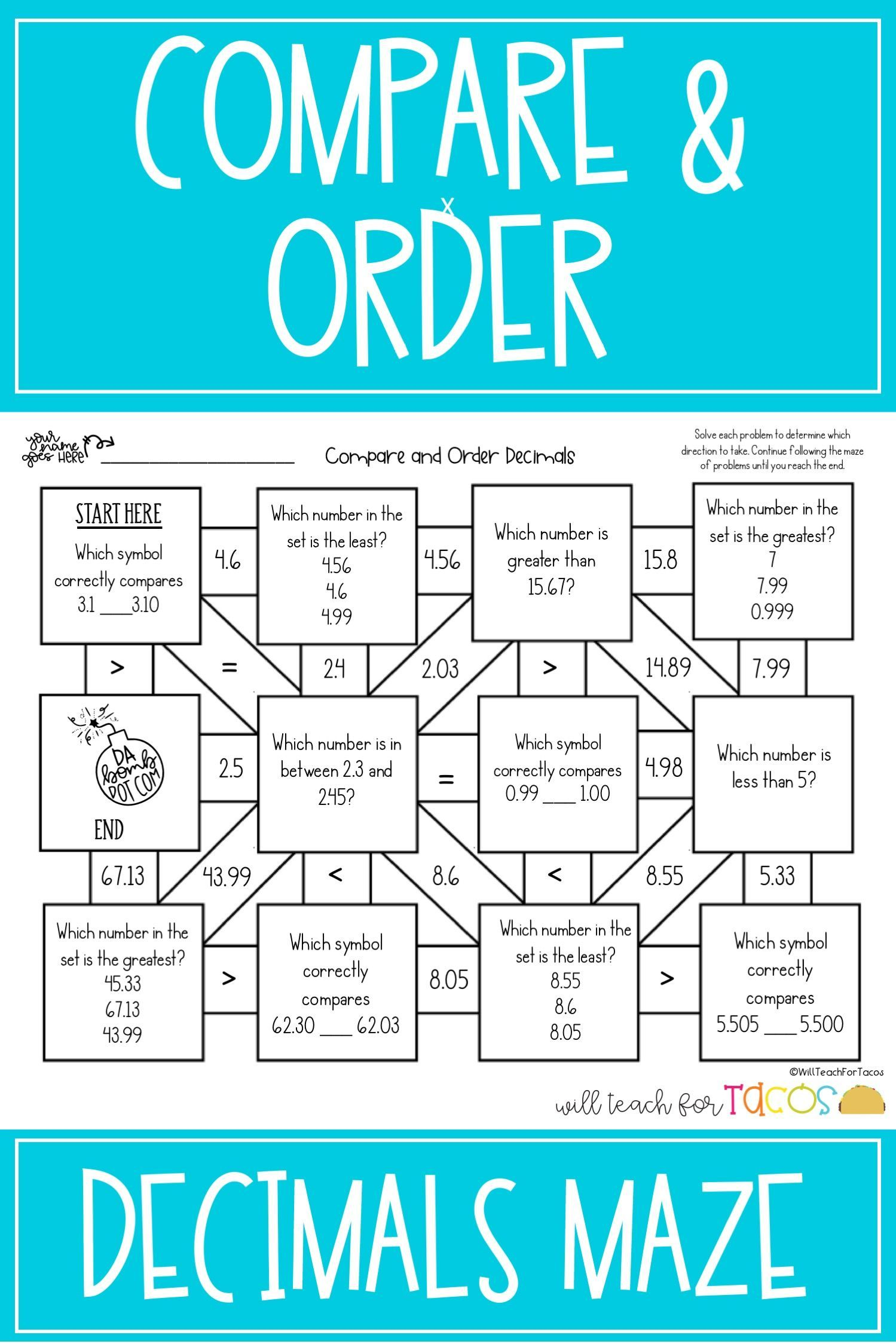 Comparing And Ordering Decimals Worksheets   Printable Worksheets and  Activities for Teachers [ 2249 x 1499 Pixel ]