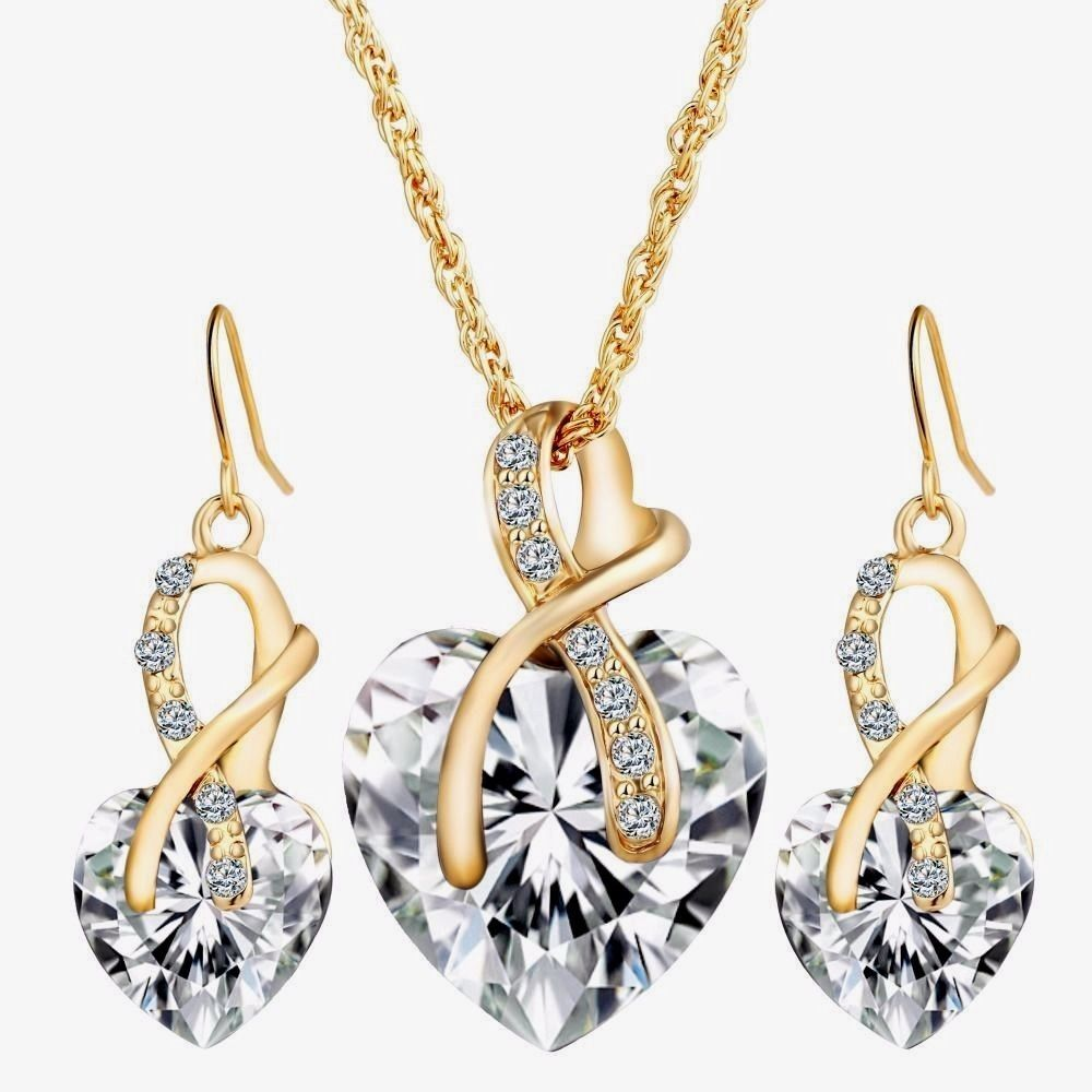 Womens beautiful clear crystal heart necklace earring set k gold
