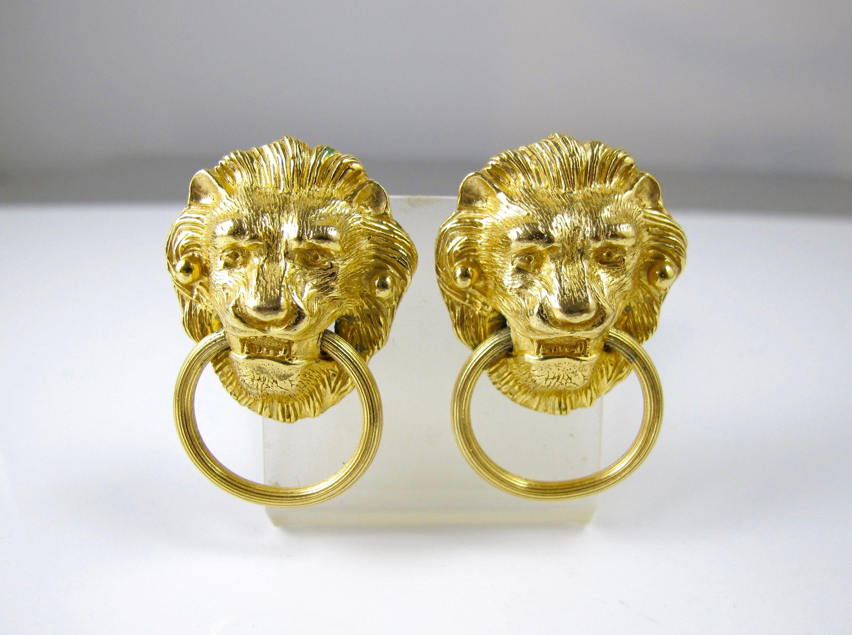 14kt Gold Lion Heads Dangle Earrings