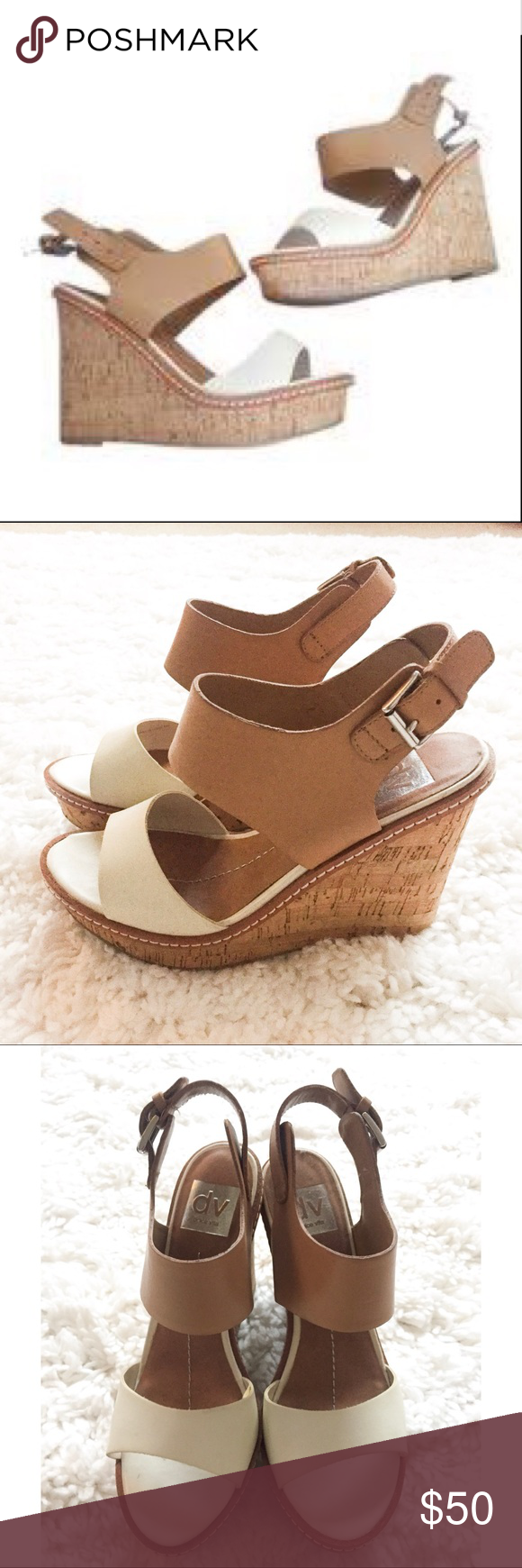Dolce Vita Cork Wedges White and Brown