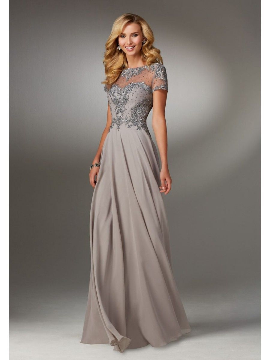 Mother of the bride dresses evening wedding  ALine Illusion Neckline Beaded Embroidered Mother of The Bride