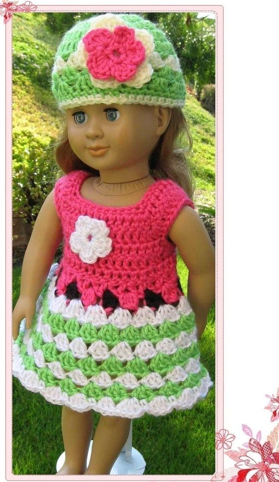 Pattern in PDF -- crocheted doll dress for American Girl, Gotz or similar 18 inches dolls (Doll Dress 1 ) #dolldresspatterns