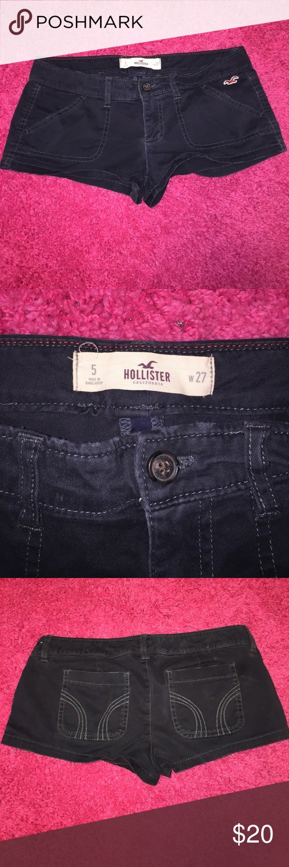 Navy Blue Hollister Shorts Cute Dark Navy Blue Hollister Shorts Size 27! Waist Measurement 15in. Inseam 2in. Rise 7in. Made of 98% Cotton 2% Elastane. They are in perfect condition no rips, holes, or stains! Hollister Shorts Jean Shorts