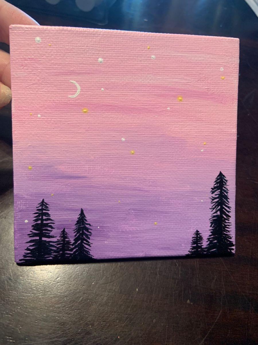 Simple Small Canvas Acrylic Paint Sunset Canvas Painting Tree Painting Canvas Diy Canvas Art Painting