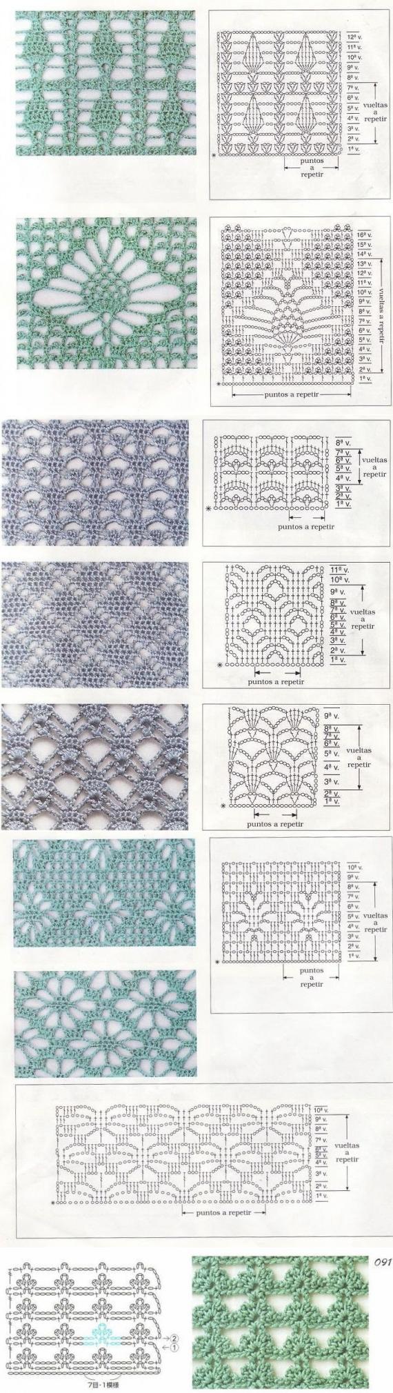Вязание крючком | Puntadas, Ganchillo y Puntos crochet