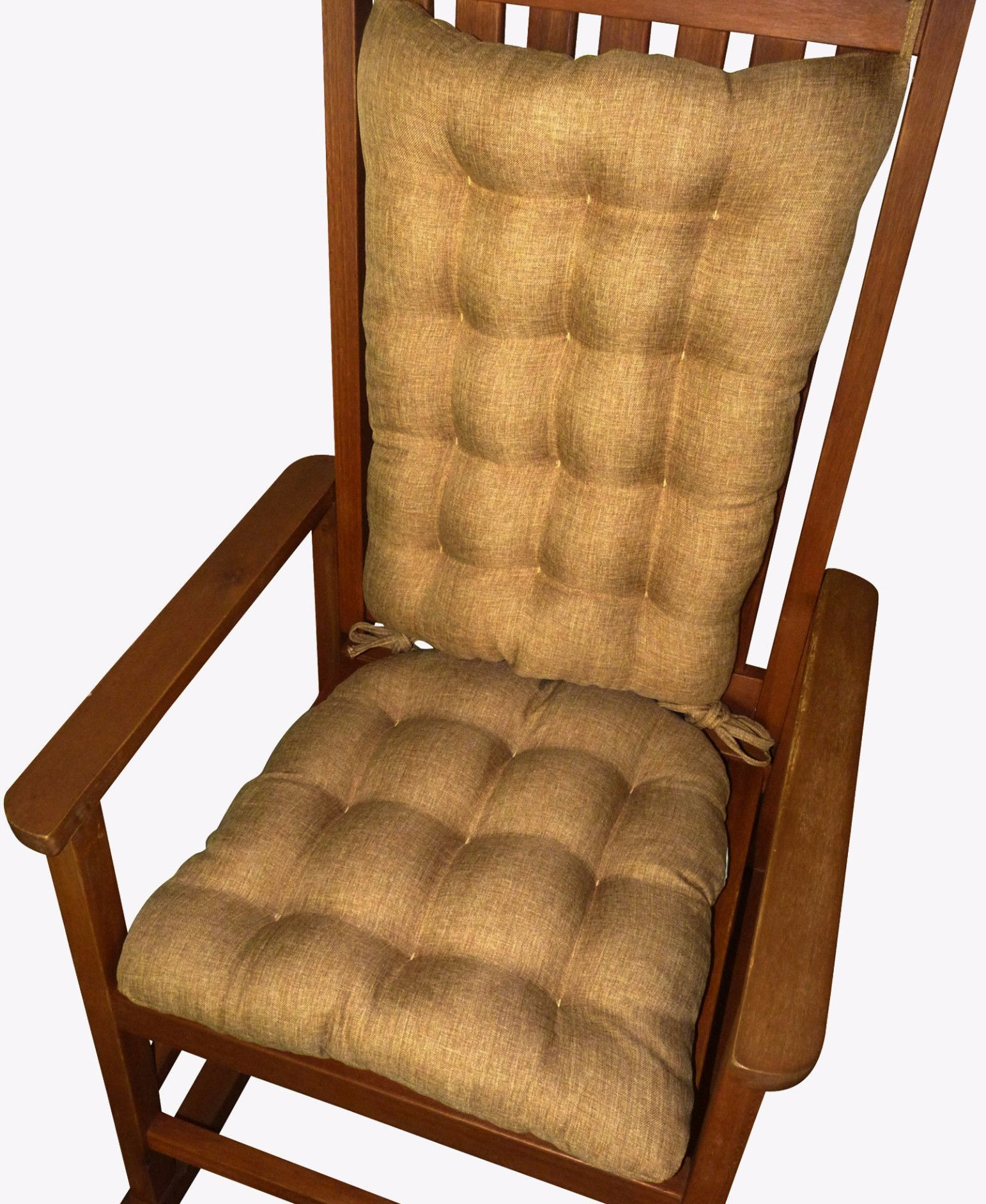 Hayden Honey Rocking Chair Cushions are made in a subtly variegated woven fabric in warm neutral shades of rust red, henna brown and golden wheat that will compliment many decor styles and color themes. #honey #copper