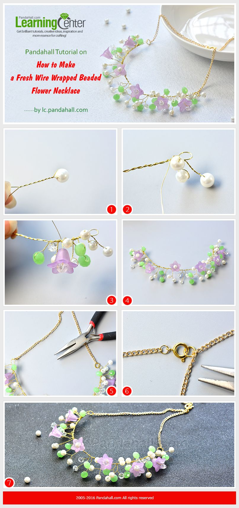 Pandahall Tutorial on How to Make a Fresh Wire Wrapped Beaded Flower ...