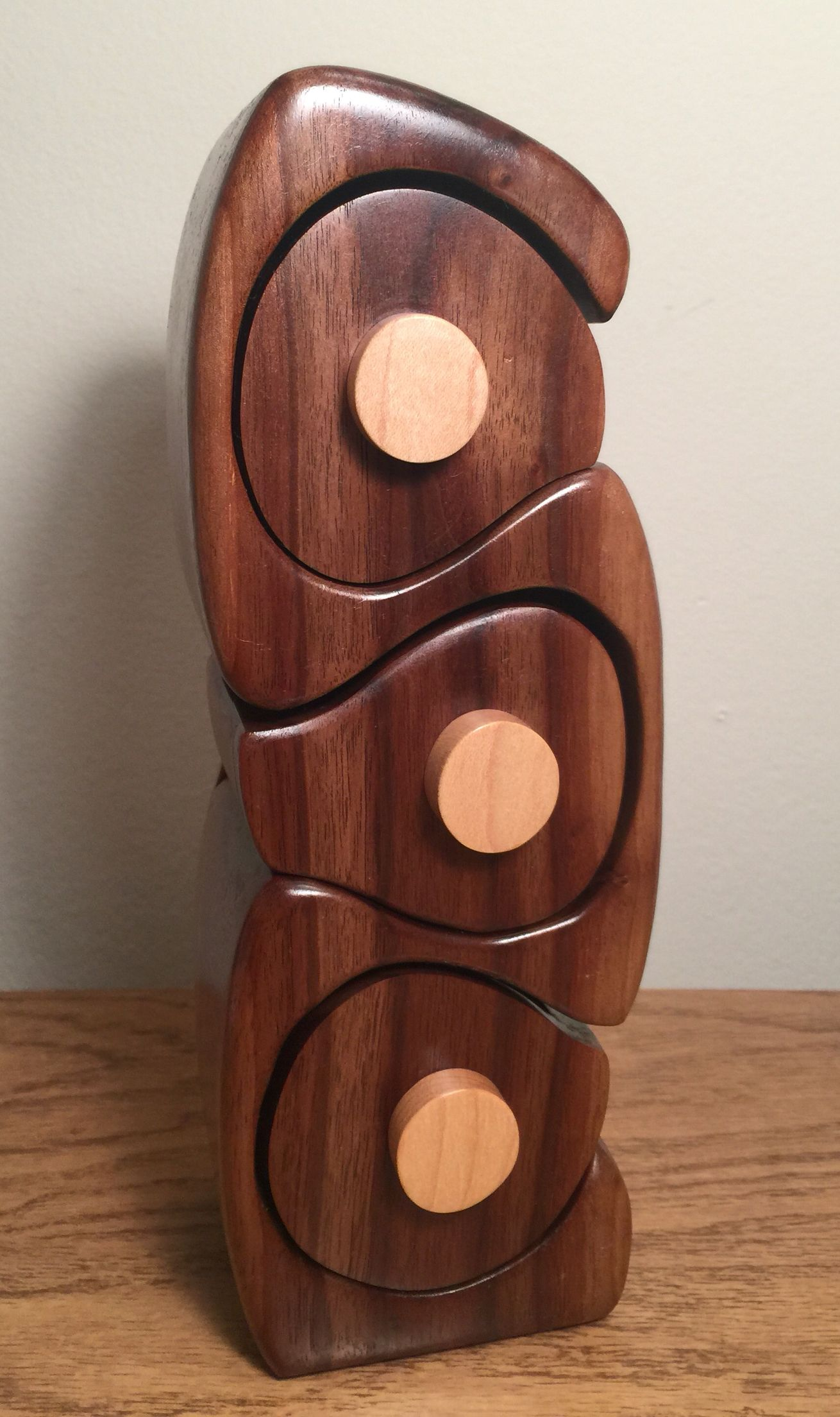 Bandsaw box made from a black walnut log with maple drawer pulls