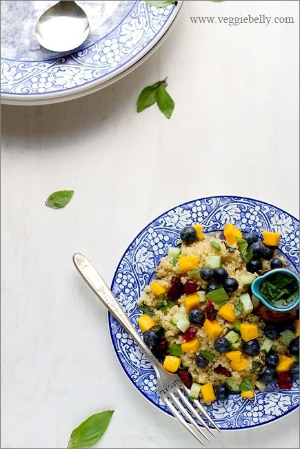 salad    For the quinoa  1/2 cup quinoa  1 cup water    For the fruits and veggies  ½ cup fresh blueberries  ½ cup cubed ripe mangoes  ½ cup cubed cucumbers  1/2 tablespoon dried cranberries    For the lemon basil dressing  1½ tablespoons extra virgin olive oil  2 tablespoons lemon juice  1/4 teaspoon lemon zest  10 Basil leaves, chopped finely