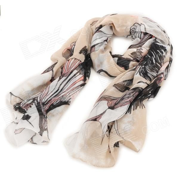 Fashionable Traditional Chinese Painting Begonia Pattern Linen Scarf ...
