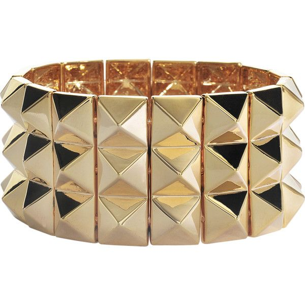 #LetsTotallyParty Noir Jewelry Gold studded bracelet found on Polyvore