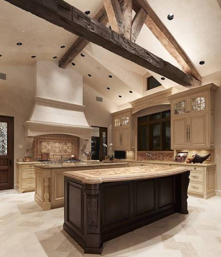 We Love This Double Island Kitchen Huge Open Kitchen: Style Tuscan Kitchen Design Ideas With Double Islands