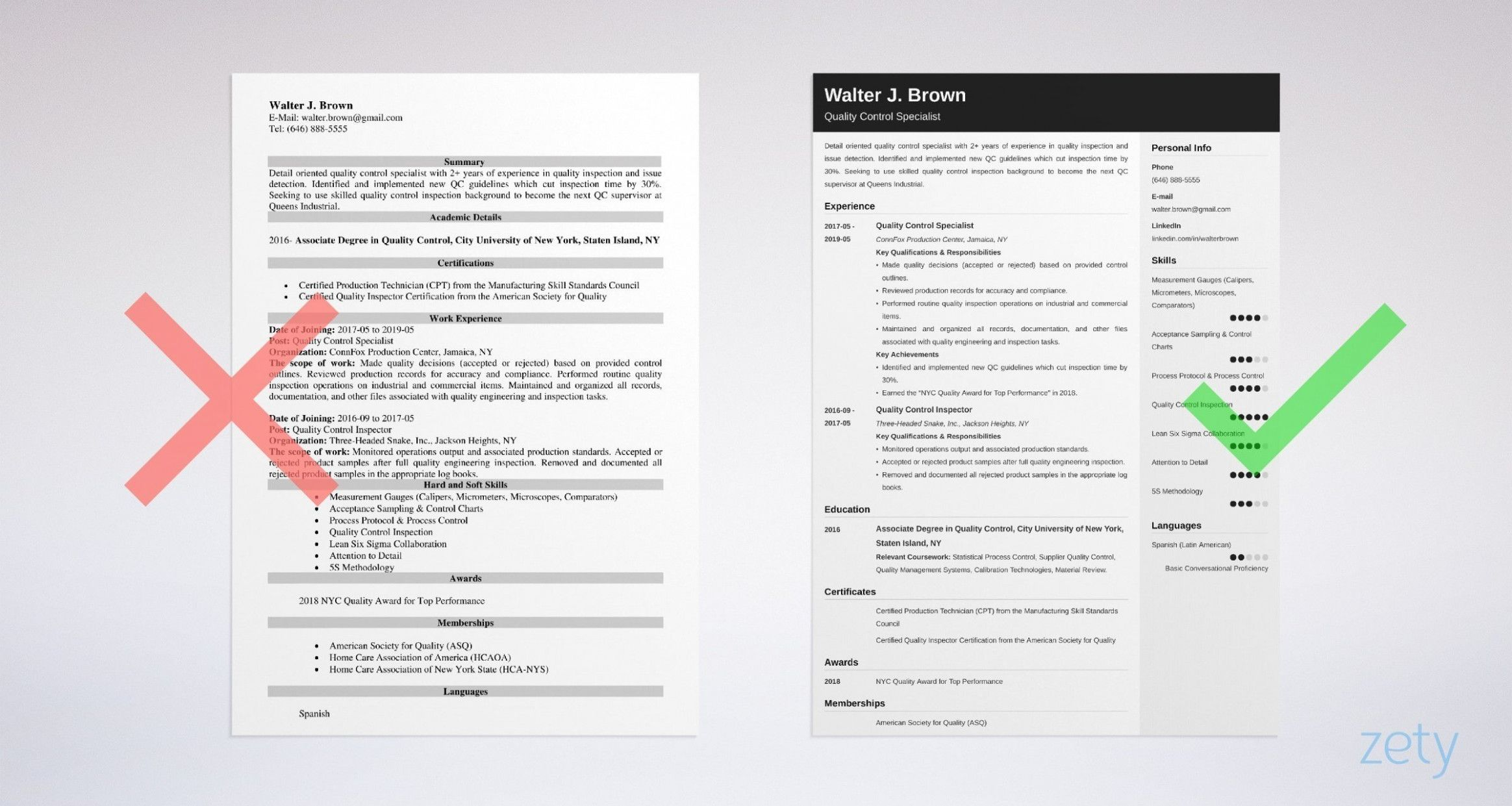 quality manager resume format