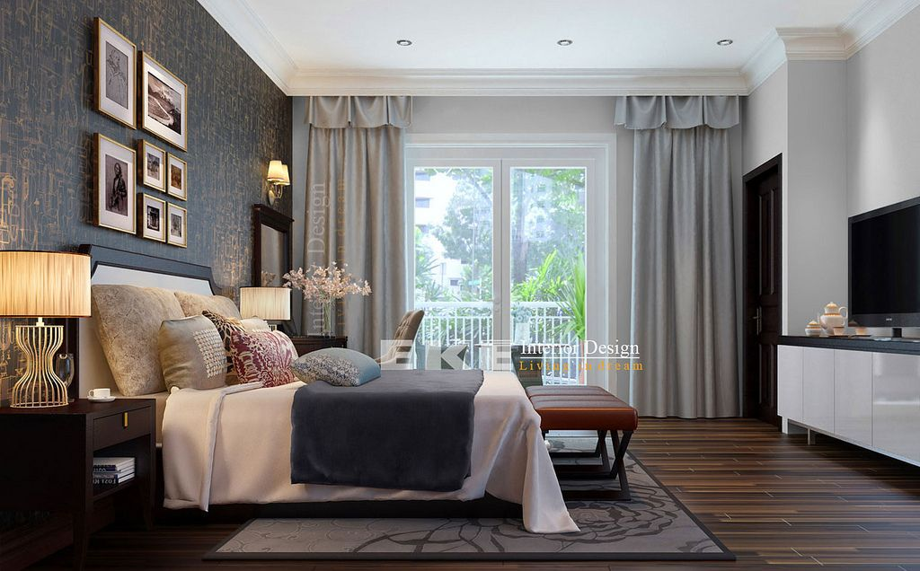 Traditional Home With Dark Wood Flooring Tuananh Eke S Floors Heavily Styled Modern Bedroom