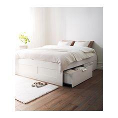 Cadre Lit Avec Rangement Blanc 180x200 Cm Brimnes Lit