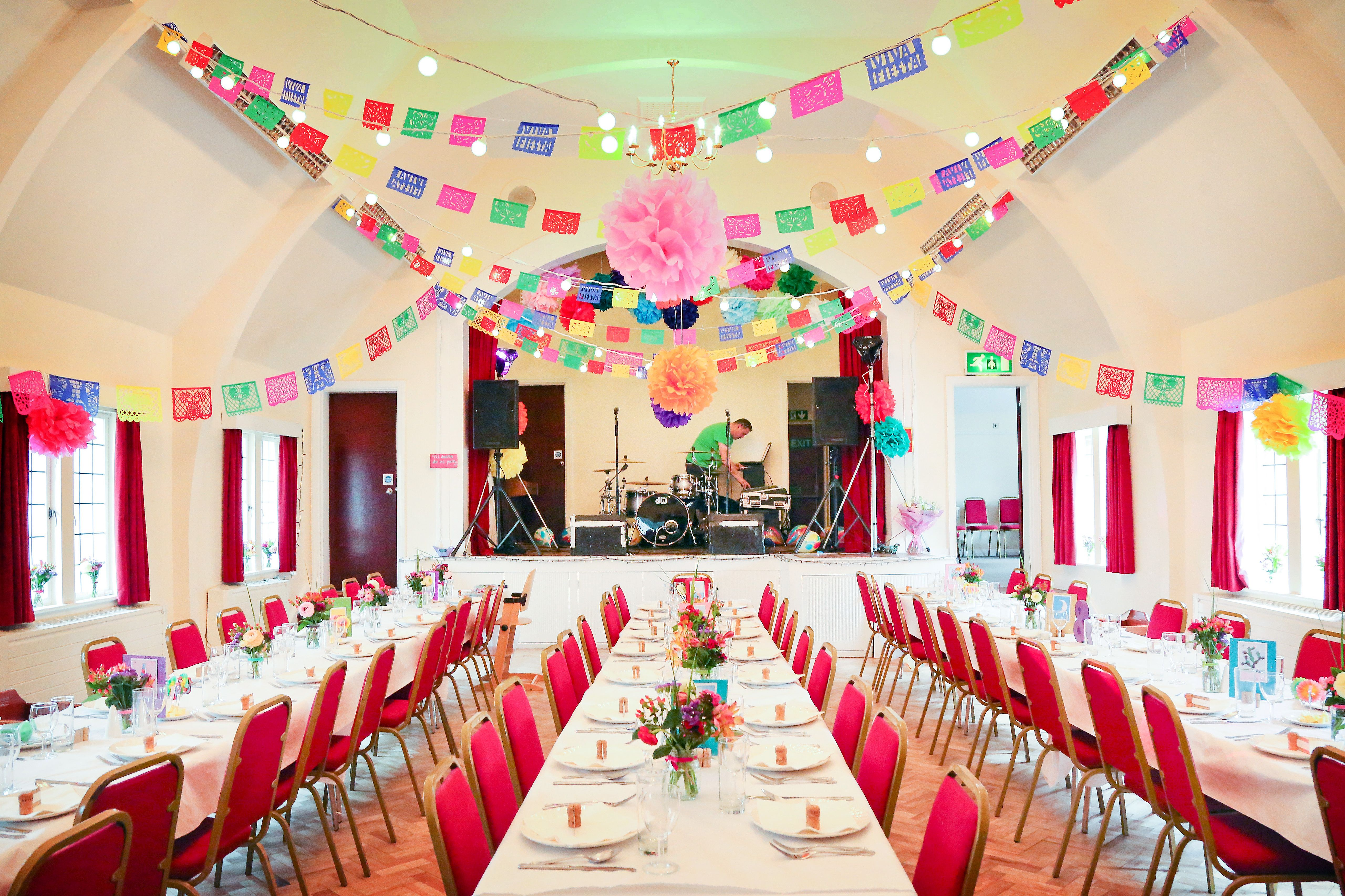 Fulmer Village Hall, Berkshire, Decorated For A Colourful Mexican Wedding