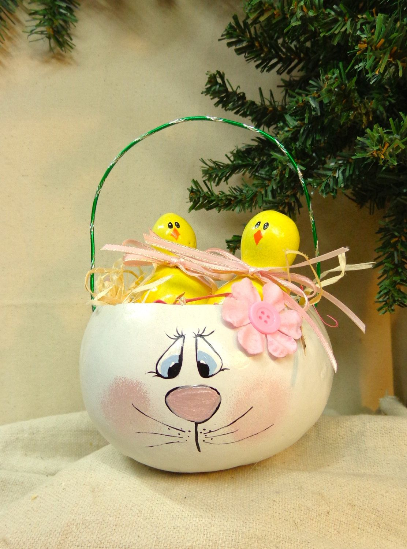 Reserved For Karen Hand Painted Gourd Bunny Easter Basket