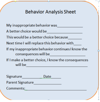 Behavior Contract  SelfMonitoring Fill Out Sheet For Student To