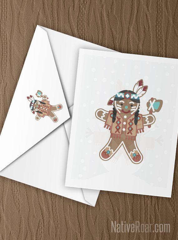 Native American Gingerbread Christmas Card Seasons Greetings Feather