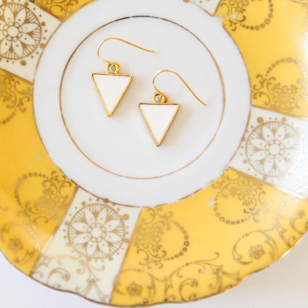 Modern pennant flag earrings in gold u white enamel by brighterday