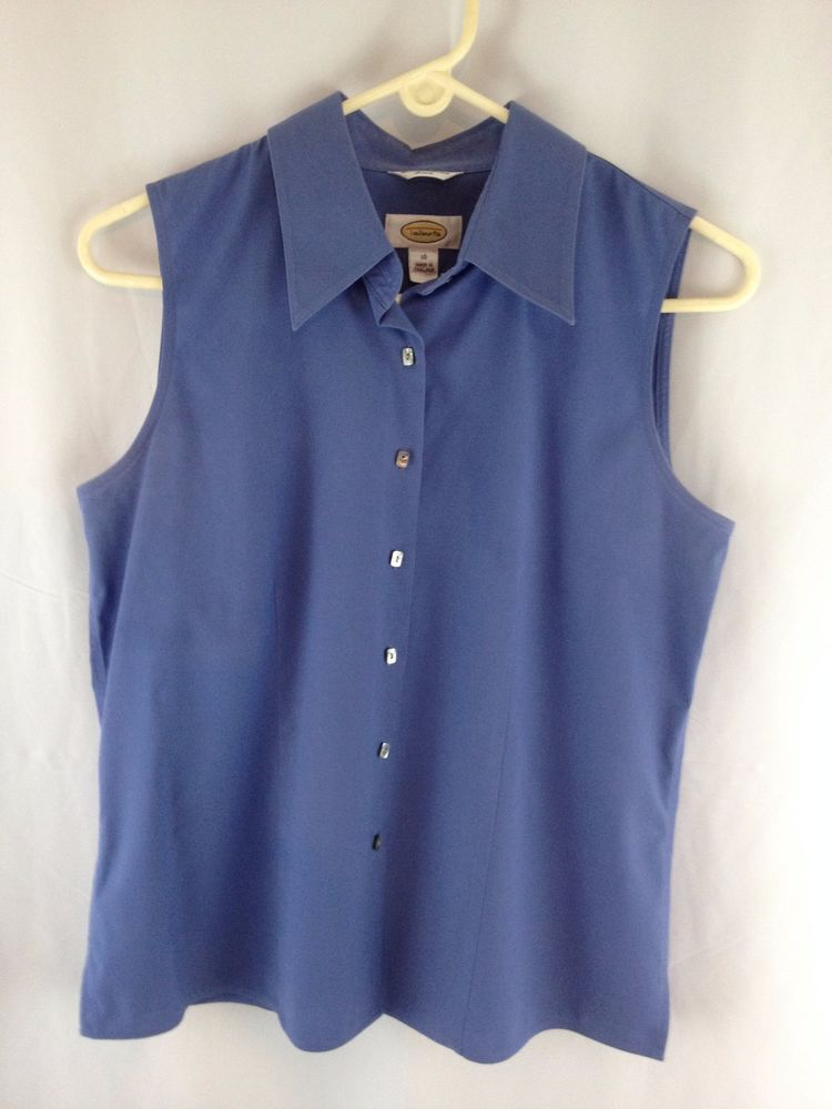 3895a7ee0446 Talbots Blue Cotton Stretch Wrinkle Resistant Button Front Sleeveless Blouse  10  Talbots  ButtonDownShirt