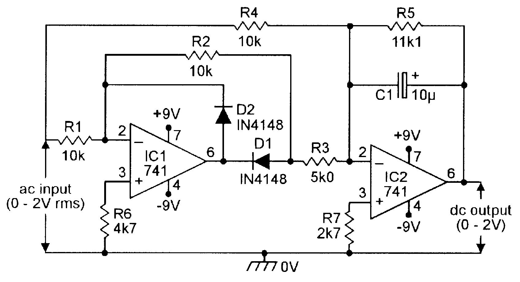 Precision full-wave AC/DC converter. | Electronic schematics ... on