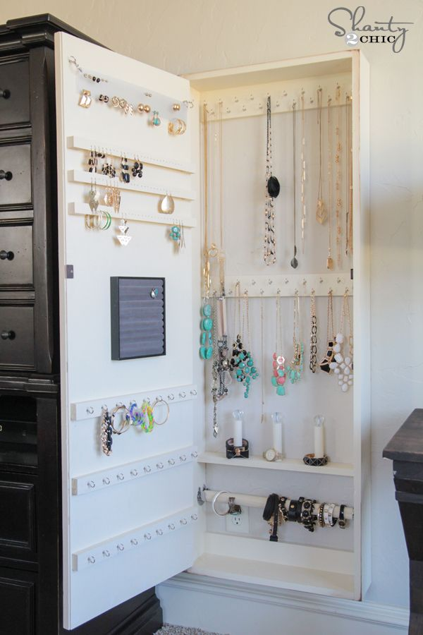 DIY Jewelry Organizer | Hidden hinges, Jewelry storage and Doors