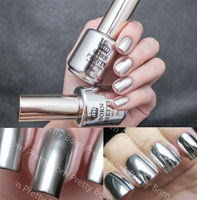 2Pcs 15ML Metallic Mirror Effect Nail Polish Metal Silver Varnish