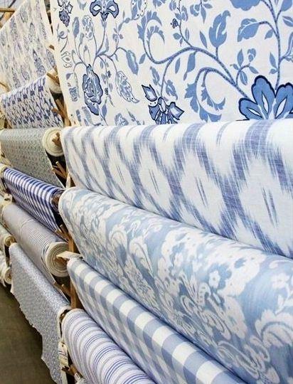 Crisp blue and white fabrics