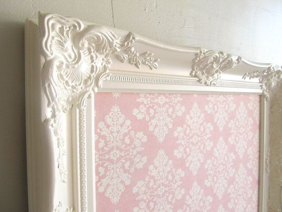 MAGNET BOARD Magnetic Board Shabby Chic Nursery Wall Decor Pink Cream Victorian Memory Board Vintage Style Picture Frame #etsy