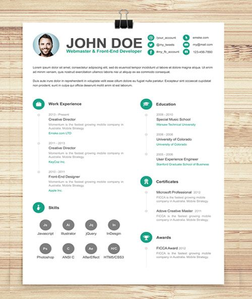 106+ Best Free Creative Resume Templates Updated CV Templates - Simple Format For Resume