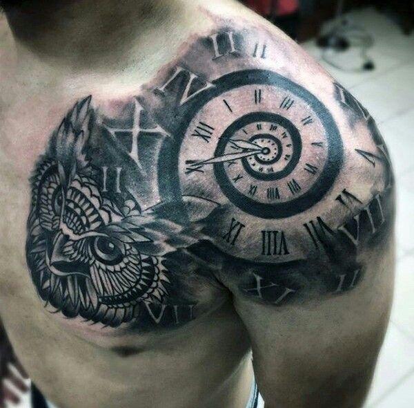 Shoulder Clock Tattoo Mens Shoulder Tattoo Tattoos For Guys Cool Shoulder Tattoos