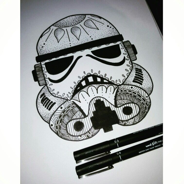 stormtrooper zentangle pen drawing mandala zentangle art zentangle pens art zentangle. Black Bedroom Furniture Sets. Home Design Ideas