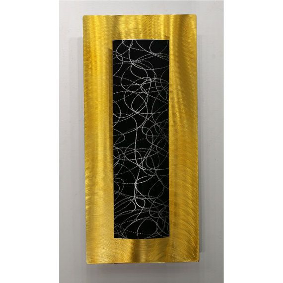 Black Golden Yellow Fusion Modern Metal Wall Accent Hand