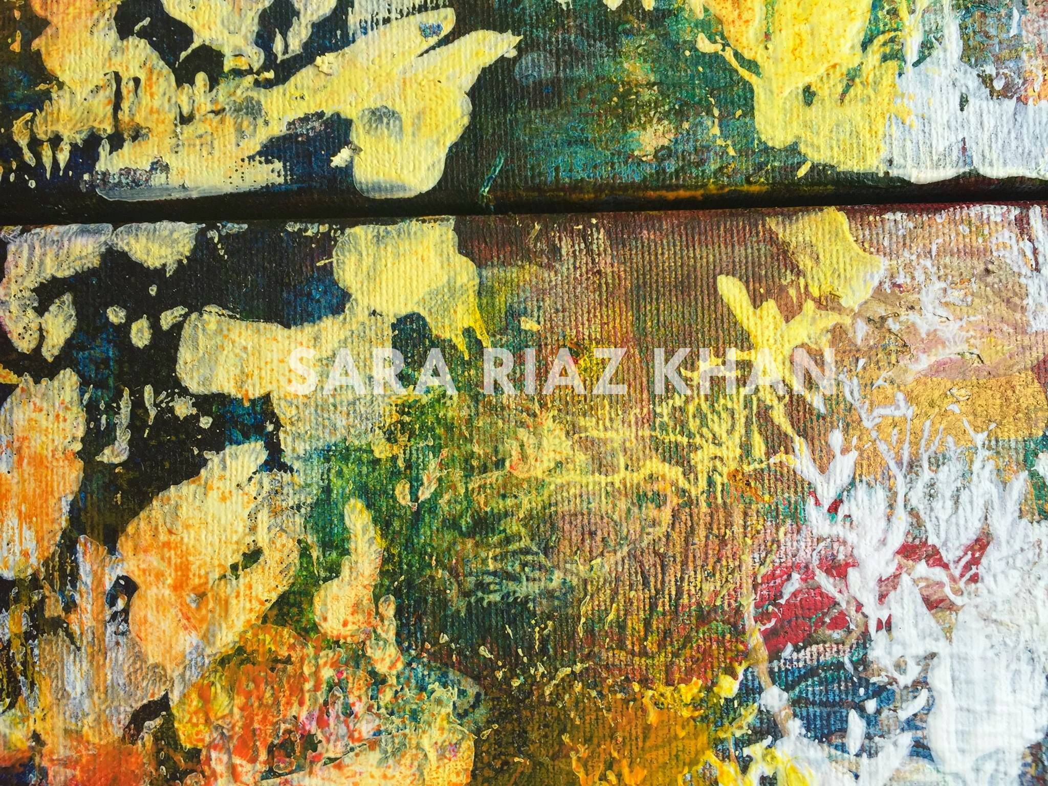 Sara Riaz Khan \'Songs of Spring\' detail, Oil and Gesso on canvas. A ...