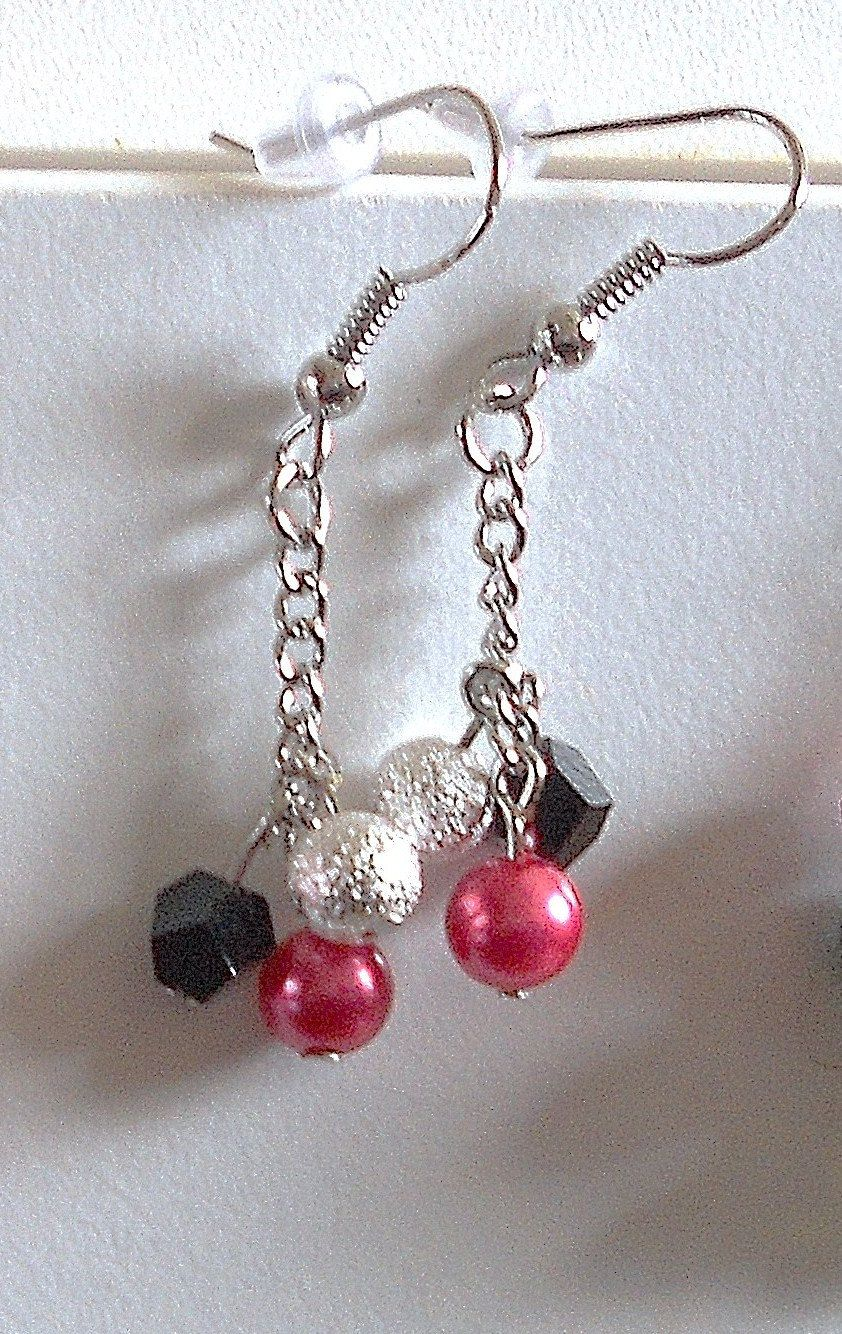 Dainty, cute, sexy,Hot Pink, Black, and Silver Long Drop Earrings, Fashion Jewelry. $15.00, via Etsy.