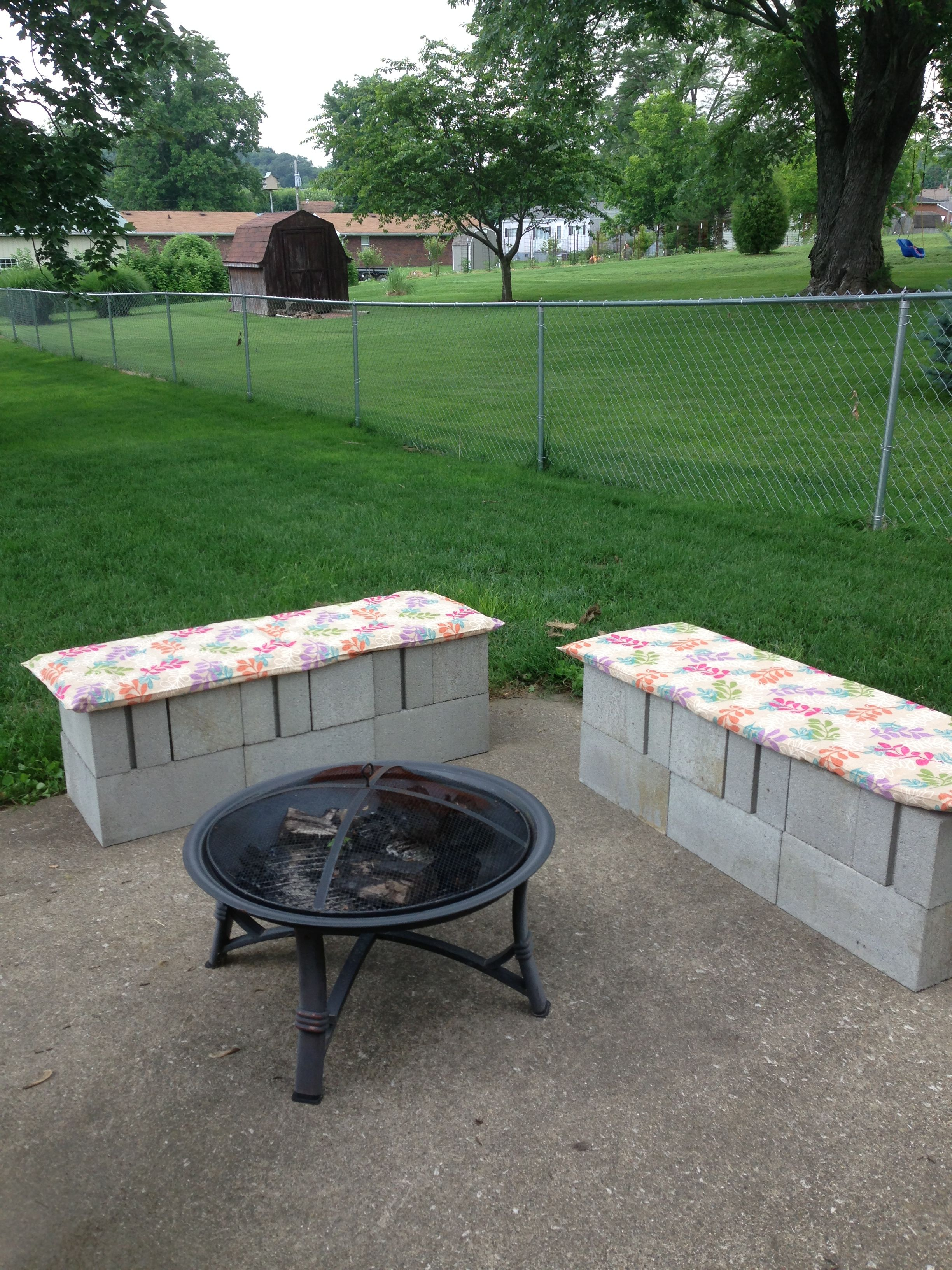 Backyard fire pit cinder block benches! Easy to make and ... on Simple Cinder Block Fireplace id=49367