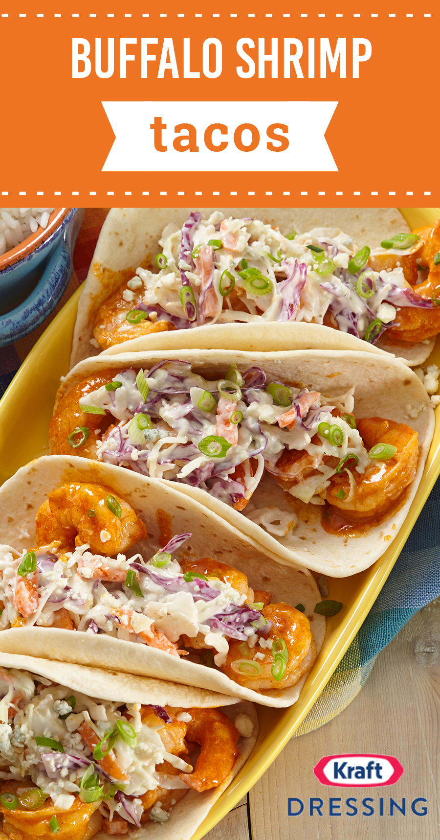 Buffalo Shrimp Tacos – Made with shrimp, blue cheese, and coleslaw, these spicy taco bites are sure to bring the party to your next fiesta. Ready in just 20 minutes, this flavorful recipe comes together in no time. #buffaloshrimp