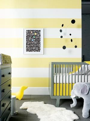 25 Creative and Modern Nursery Design Ideas | Striped walls, Yellow ...