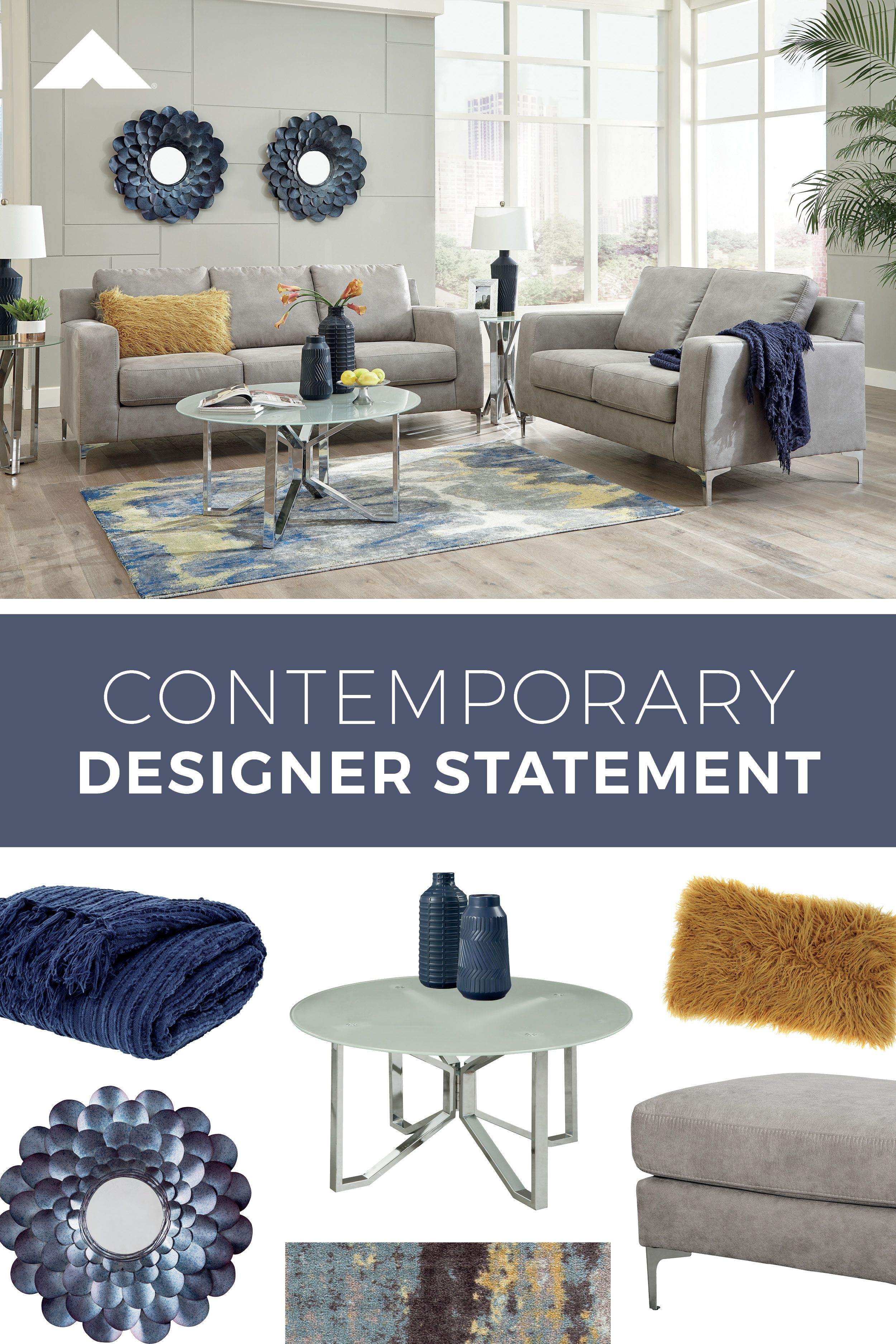 Ryler Steel Contemporary Living Room Furniture By Ashley Furniture