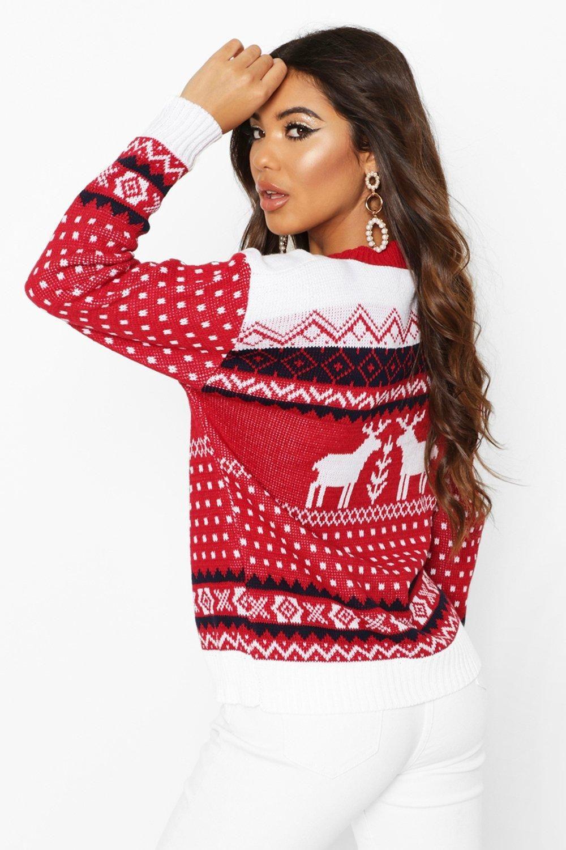 Womens Aztec Fairisle Reindeer Christmas sweater red S