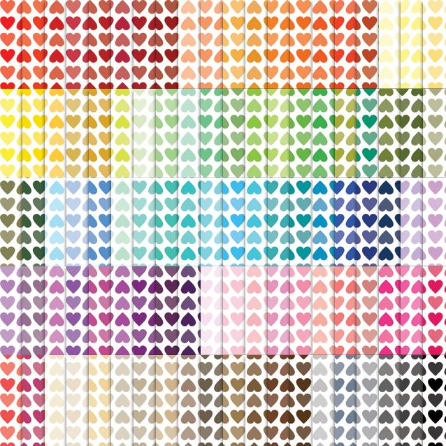 100 Colors Tinted Lined Hearts Digital Paper Pack Scrapbook Paper