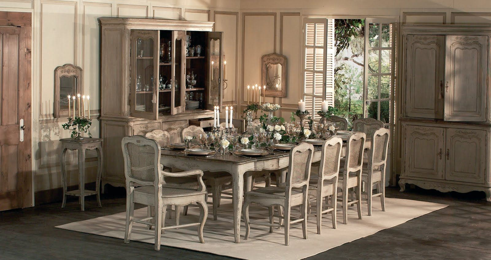 antique white wash dining set. ideas: french country dining room interior ideas with rustic decoration and luxury sets design also wooden cabinets classic candle holders: antique white wash set .