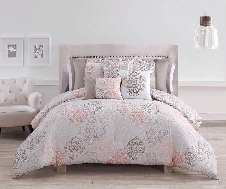 Best Project Runway Sedona Coral Tan Queen 6 Piece Comforter 400 x 300